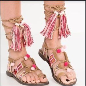 Sam Edelman NEW Gretchen Lace Up Tassel Sandals